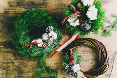 Christmas composition. On wood background Stock Photos