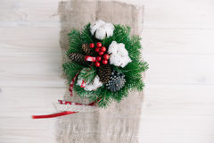 Christmas composition. On wood background Royalty Free Stock Photography