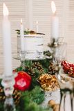 Christmas composition of wood stock photo