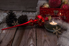 Christmas composition on wooden background. Beautiful christmas composition with candle on wooden background Stock Photos