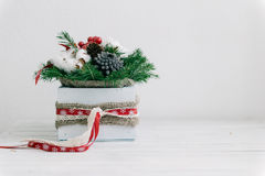 Christmas composition. In the wooden box Stock Photography