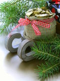 Christmas composition - wooden sleigh with gifts and fir tree Royalty Free Stock Photo