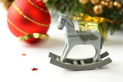 Christmas composition with wooden toy rocking horse Royalty Free Stock Photos