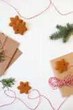 Christmas composition. Xmas cookies, Gingerbread man, ribbon, ca Stock Photo