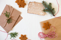 Christmas composition. Xmas cookies, Gingerbread man, ribbon, ca Stock Photography