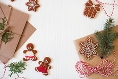 Christmas composition. Xmas cookies, Gingerbread man, ribbon, ca Stock Images