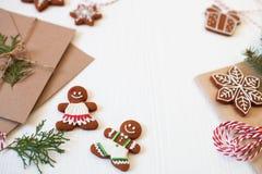 Christmas composition. Xmas cookies, Gingerbread man, ribbon, ca Stock Photos