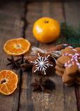 Christmas composition. Xmas cookies, tangerines, cinnamon, festi Royalty Free Stock Photos