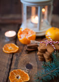 Christmas composition. Xmas cookies, tangerines, cinnamon, festi Royalty Free Stock Images