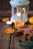 Christmas composition. Xmas cookies, tangerines, cinnamon, festi Royalty Free Stock Photography