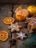 Christmas composition. Xmas cookies, tangerines, cinnamon, festi Stock Photography