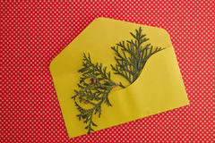 Christmas composition with yellow envelope on red background. Top view, flat lay. Close up. Royalty Free Stock Image