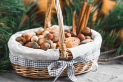 Christmas Concept Basket with Assorted Mixed Nuts Peanuts Almonds Hazelnuts Pine Branch Yellow Blanket Cozy Healthy Concept Autumn. Winter Background royalty free stock photos
