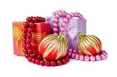 Christmas concept - baubles on white Stock Image