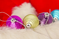 Christmas concept with baubles on white Royalty Free Stock Photo