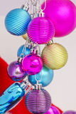 Christmas concept with baubles on white Royalty Free Stock Photos