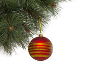 Christmas concept with baubles on white Stock Images