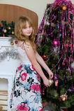 Christmas concept. Beautiful blond girl Stock Images