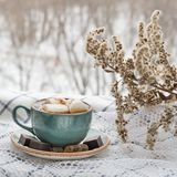 Christmas concept. Cup of hot coffee with marshmallow on a white napkins on windowsill. Royalty Free Stock Images