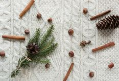 Christmas concept. Christmas bouquet with spruce, fir-tree, snowflakes, on white knitted background. Holiday card. Vintage style. Stock Images