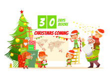 Christmas concept with cartoon santa and elves Royalty Free Stock Photography