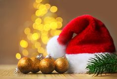 Free Christmas Concept. Christmas Decoration. Santa Hat With Abstract Blur Background Stock Photos - 132963873