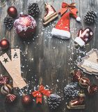 Christmas concept, Christmas decorations. gifts and snow on a gray background, space for text royalty free stock image