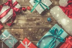 Christmas concept - presents royalty free stock photography