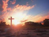 Christmas concept: cross of Christ Jesus stock photos