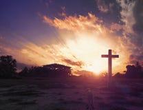 Christmas concept: cross of Christ Jesus stock image