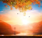 Christmas concept: The Cross symbol of christian and Jesus Christ stock image