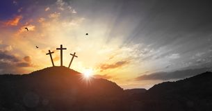 Christmas concept: Crucifixion Of Jesus Christ Cross At Sunset royalty free stock images