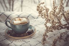 Christmas concept. Cup of coffee with marshmallow on a white napkins on windowsill. Toned image. Stock Images