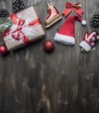 Christmas concept, Christmas decorations. gifts snow on a gray background, space for text royalty free stock image