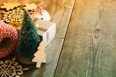 Christmas concept. Decorative tree next to decorations Stock Photo