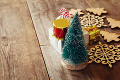Christmas concept. Decorative tree next to decorations Stock Images