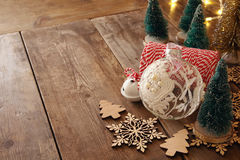 Christmas concept. Decorative tree next to decorations Stock Photography
