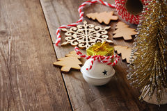 Christmas concept. Decorative tree next to decorations Royalty Free Stock Photography