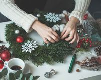 Christmas Concept with Evergreen Xmas Tree Twig stock photography