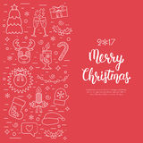 Christmas  concept, flyer, card with traditional attributes in line style with white hand lettering inscription. Handwritt Stock Images