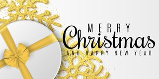 Christmas concept. Greeting card. Gold glitter snowflakes, gift box. Advertising holiday poster. Merry Christmas and Happy New Yea