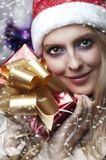 Christmas concept. happy woman with gift Stock Photography