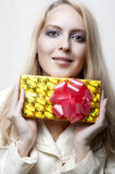 Christmas concept. happy woman with gift Royalty Free Stock Images