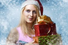 Christmas concept. happy woman with gifts Stock Photography