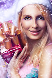 Christmas Concept. Happy Woman With Gift Stock Images
