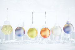 Christmas concept with multicolored balls on the rope - christma Stock Photography