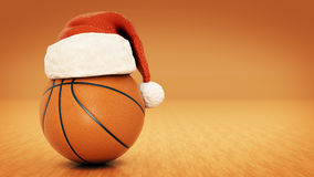 Christmas concept. Orange basket ball. 3d rendering Royalty Free Stock Images