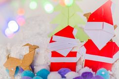 Santa claus,xmas tree and reindeer christmas paper craft Royalty Free Stock Photos