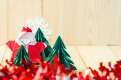 Christmas concept paper craft on wooden floor, Selective focus, Stock Photos