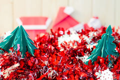 Christmas concept paper craft on wooden floor, Selective focus, Stock Image